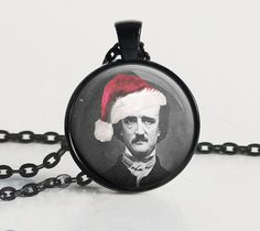 Edgar Allan Poe - Santa Hat - Poe - Literary Jewelry - Gifts for Librarian - Book Lover - Literary - Gifts for Writer - Christmas (Z1413)