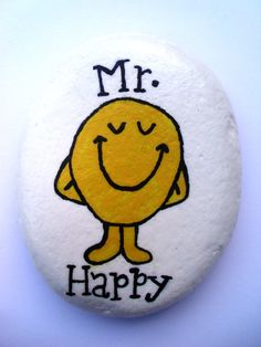 Mr Men Hand Painted Pebble/Stone//Rock. by Quacraft on Etsy, £5.00
