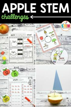 These apple STEM challenges are a must-try! Grab a bag of apples and dive into science, measurement, buoyancy, life cycles, 2D shapes and numbers. The set is perfect to use in STEM centers, math stations or as early finisher tasks. Apple Activities, Autumn Activities For Kids, Sequencing Activities, Science Activities, Apple Life Cycle, Kindergarten Stem, Apple Unit, Math Stem, Stem For Kids