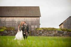 Such a great shot of the bride and groom! | See more of this Scottish themed #wedding here: http://www.mywedding.com/articles/lee-and-brittanys-scottish-themed-buskirk-ny-wedding-by-rob-spring-photography/