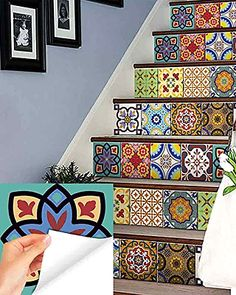 Set of 24 mixed tile square art decals Great item to decorate your bathroom, kitchen flat walls & windows *WHAT INCLUDE* Set of 24 mixed different traditional spanish retro tile decal square Apply…More Retro Home Decor, Diy Home Decor, Interior Design Kitchen, Kitchen Decor, Decorating Kitchen, Kitchen Ideas, Traditional Tile, Tile Decals, Vinyl Tiles