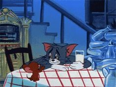 Tom and Jerry is an American animated series of comedy short films created in 1940 by William Hanna and Joseph Barbera. Tom And Jerry Gif, Tom Und Jerry Cartoon, Tom And Jerry Memes, Calvin Und Hobbes, Cartoon Wallpaper, Cartoon Memes, Cartoon Characters, Tom And Jerry Wallpapers, Comedy Short Films