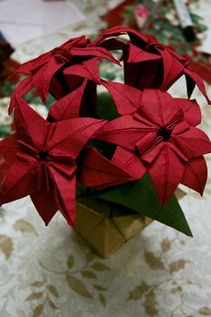 poinsettia origami | Paper Poinsettia 1 Photos | Project365 - 1/5/2010: Origami Poinsettia ...