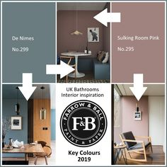 Farrow and Ball colours for De Nimes No. 299 Sulking Room Pink No. 295 Why not specify a radiator, bath or furniture in a special custom colour for your n. Farrow And Ball Living Room, Home Living Room, Living Room Decor, Bedroom Decor, Bathroom Paint Colors, Paint Colors For Home, House Colors, Hallway Paint Colors, Paint Colours