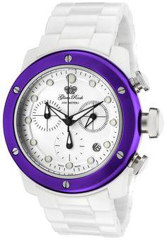 Women's Aqua Rock Chrono White Ceramic and Dial Green IP Steel Bezel - Glam Rock Watch Rock Watch, Casual Chic Style, Beautiful Watches, Glam Rock, Casio Watch, Michael Kors Watch, White Ceramics, Chronograph, Aqua