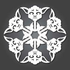 It's Snowing Star Wars! 10 new DIY Star Wars Paper Snowflake Templates. Paper Snowflake Template, Snowflake Craft, Snowflake Printables, Paper Snowflake Designs, Snowflake Images, Star Wars Snowflakes, Paper Snowflakes, Star Wars Party, Kirigami