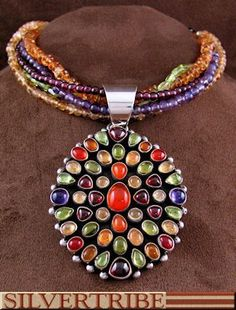 Native American Jewelry Sterling Silver Multicolor Pendant And Necklace Set NS55480