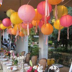 "Mercurymall® Pack of 5X8"" (1 Green 1 Purple 1 Orange 1 Blue 1 White) round paper lantern with wire ribbing Paper Chinese Lanterns Wedding Kh..."