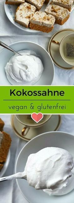 Make delicious coconut cream yourself Vegan recipes - Fluffy, airy and simply delicious. Coconut cream is quickly made and tastes heavenly with cakes of - Vegan Sweets, Healthy Sweets, Vegetarian Lifestyle, Vegetarian Recipes, Delicious Recipes, Beginner Vegetarian, Paleo Dessert, Coconut Cream, Vegan Life
