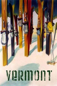 Vermont New England Ski Winter Sport Trail Fine Vintage Poster Repro FREE S/H