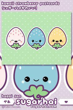 super kawaii pastel strawberry postcards!