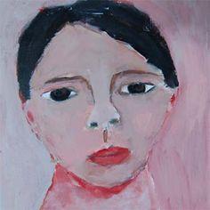 Acrylic Portrait Painting School Boy Face, Black Hair, Pink Background 6x6 canvas board