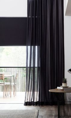7 Artistic Clever Tips: Sheer Blinds Decor kitchen blinds navy.Bedroom Blinds And Curtains bedroom blinds home decor. Black Sheer Curtains, Bedroom Curtains With Blinds, Black Blinds, Sheer Blinds, Patio Blinds, Living Room Blinds, Diy Blinds, House Blinds, Curtains Living