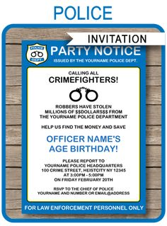 Police Themed Party Printables Invitations Themed Parties