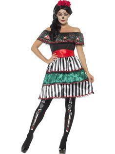 Day of the Dead -senorita. Day of the Dead -senoritan naamiaisasu on kaunis ja koristeellinen mekko, joka värikkyydellään hurmaa läsnäolijat. Day of the Dead -tyylisesti viimeistelet asun maskilla, peruukilla sekä luurankoaiheisilla sukkahousuilla.
