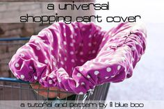"Pattern & Tutorial for a Universal Shopping Cart/High Chair Cover. **Note to Self-I've already saved the pattern file on the hard drive, in the ""Patterns"" folder, labeled ""Shopping Cart Cover"" Baby Sewing Projects, Sewing For Kids, Sewing Tutorials, Free Tutorials, Sewing Ideas, Tutorial Sewing, Diy Projects, Sewing Crafts, Do It Yourself Baby"