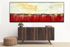 Large Abstract Painting on Canvas Red Gold Black by BBArtZone
