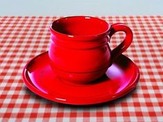 Mamma Ro Cup & Saucer in Red by La Vita Vera. $33.16. Color your table with this beautiful Italian tableware. Bold palette of solid color. Microwave and dish washer safe. Hand crafted which give each piece a unique story to tell. 6 Vibrant colors or mix and match to create your own style. Bold palette of solid color . Hand crafted which give each piece a unique story to tell . Color your table with this beautiful Italian tableware . 6 Vibrant colors or mix and m...