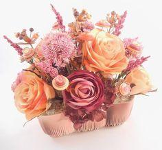 GOLDEN ROSE Vintage Button Embellished Silk Flower Arrangement Pink Gold. $42.00, via Etsy.