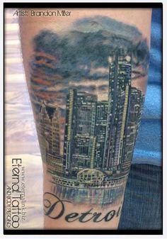 Detroit Skyline Tattoo.  Full Color
