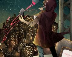 Image d'anime 1000x800 avec  kagerou project shaft (studio) kano shuuya manako (manatera) single blonde hair sky standing from behind back city fingernails cityscape city lights male star (stars) hood pants mask hoodie