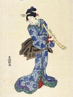 Woman with Shakuhachi Japanese woodcut. Utagawa Toyokuni (1769-1825/Japanese).