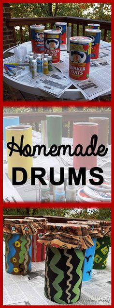 From Oatmeal Boxes into Drums! Making homemade (or classroom made) instruments is one of my favorite craft activities. Making drums tops the list in the fall! Preschool Music, Music Activities, Teaching Music, Preschool Activities, Diversity Activities, Kids Music, Drums For Kids, Drum Lessons For Kids, Art Lessons