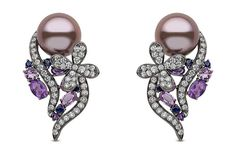 Yoko London pearl earrings in black gold with 12-13mm natural colour pink freshwater pearls, diamonds and multi-coloured sapphires.