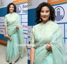Manisha Koirala blue saree high neck blouse