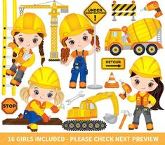 ITEM: Construction Kids Clipart - Vector Construction Clipart, Girls Clipart, Construction Girls Clipart, Kids Clipart, Construction Girl Clip Art for Personal and Commerci. Clipart Chica, Clipart Boy, Construction Theme Classroom, Construction Birthday Parties, Construction For Kids, Girls Clips, Diy Crafts To Do, Baby Clip Art, My Son Birthday
