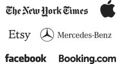 The New York Times, Apple, Etsy, Mercedes-Benz, Facebook, Booking.com