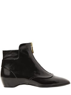 Tods 20mm Zipped Shiny Leather Ankle Boots | Footwear