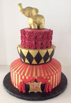 Circus Cake | Gold | Red | Gallery | Sugar Divas Cakery | Orlando | Cupcakes | Custom Cakes  Www.sugardivascakery.com