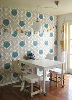 Turquoise Graphic Wallpaper and hints of yellow: from Dottie Angel