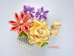 Yellow Rose Tsumami Kanzashi Fabric Flower by wonderfulkanzashi