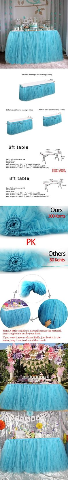 AerWo Tutu Table Skirts Tulle Queen Snowflake Wonderland Tutu Table Cloth for Girl Princess Party Baby Shower Wedding Birthday Parties Decoration Aqua Blue