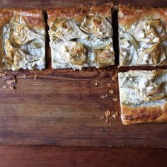 Artichoke and Feta Tart: This recipe gives you yet another excuse to keep a package of puff pastry in the freezer. If you prefer, swap out the marinated artichoke hearts for drained canned or thawed frozen artichoke hearts. Puff Pastry Appetizers, Puff Pastry Recipes, Tart Recipes, Cooking Recipes, Veggie Recipes, Epicurious Recipes, Vegetarian Recipes, Pastries Recipes, Puff Pastries