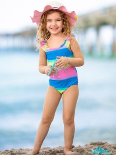 Little Girl Bikini, Little Girl Swimsuits, Bikini Girls, Unique Swimsuits, Two Piece Swimsuits, One Piece Swimsuit, Adorable Pictures, Striped One Piece, Beautiful Little Girls