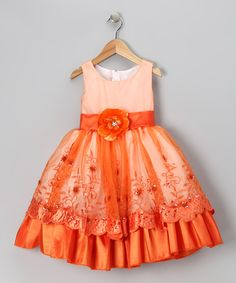 Orange Flower Organza Embroidered Dress -