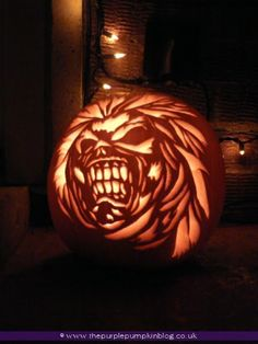 Eddie Iron Maiden | Pumpkin Carving | The Purple Pumpkin Blog