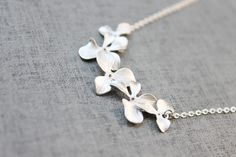 Orchid flowers white gold plated Necklace  S2058-1 by Ringostone