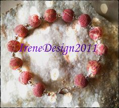 Red Bubble Coral & Silver from IreneDesign2011 by DaWanda.com