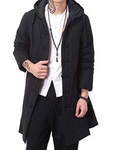 Hochock Mens Drawstring Hood Pocekt Zip Warm Long Puffer Down Coat Outerwear