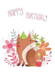 Gina Lorena Maldonado - Flowery Fox - Happy Birthday - GM
