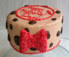 Leopard print cake with red sparkly bow:)