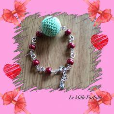 Bracciale realizzato a mano con perla uncinetto