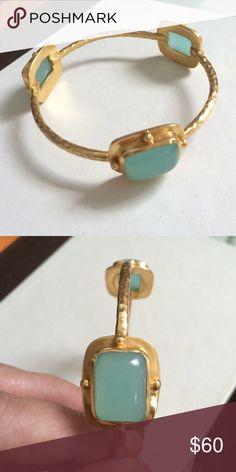 Julie Vos Bracelet Gold hardware with aqua colored stones Julie Vos Jewelry Bracelets