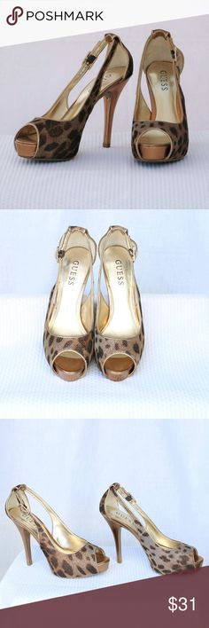 """GUESS Leopard Metallic Peep-Toe Heel: size 5.5 Guess """"Hondola"""" peep-toe in black and brown leopard prints are perfect heels for a date or just a fun night out with your friends.  Some wear as shown in photo.  Without box. Heel height:  4 1/2"""" Platform: 1"""" Guess Shoes Heels"""