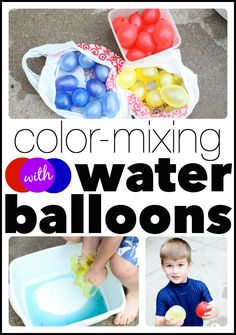 Mix colors using water balloons!  Such a fun art activity for a hot summer day!