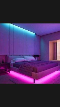 Neon Bedroom, Cute Bedroom Decor, Bedroom Setup, Decoration Bedroom, Room Design Bedroom, Girl Bedroom Designs, Room Ideas Bedroom, Cool Bedroom Ideas, Neon Room Decor